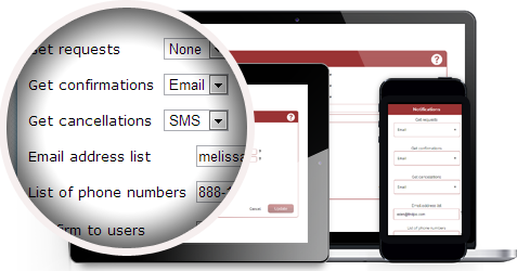 Event Scheduling Reservation Management Solution notification settings
